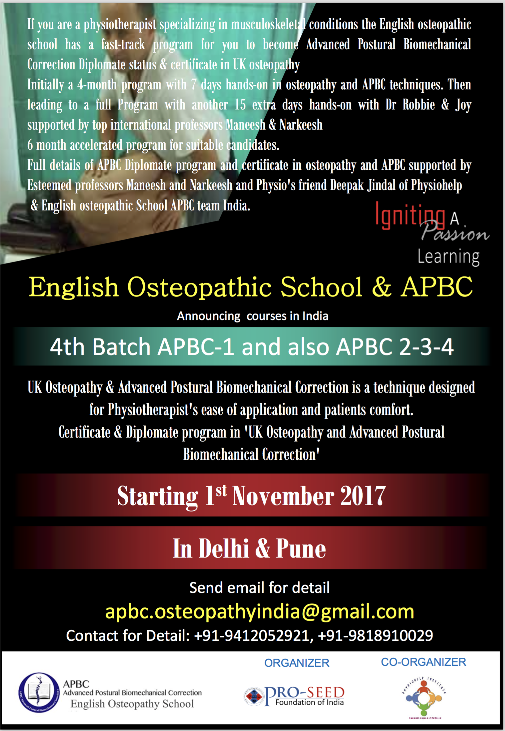 Certificate in osteopathy and APBC Diplomate program  Starts